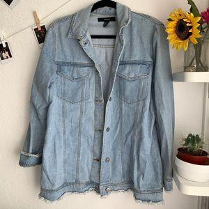 Long blue denim jacket | F21